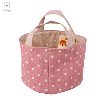 Home Decor Cute colorful dots Cotton Linen Storage Baskets Desktop Storage Bag Storage Organizer Bag