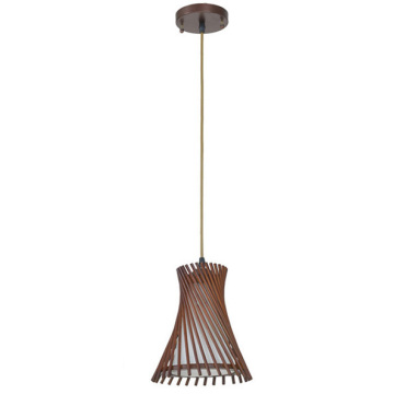 Decorative hanging wooden pendant lamp