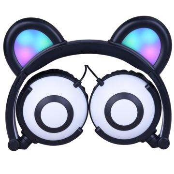Hot selling attractive for Bear Ear LED Headphones Foldable Multi Color Promotional Headphone for Kids export to Morocco Supplier