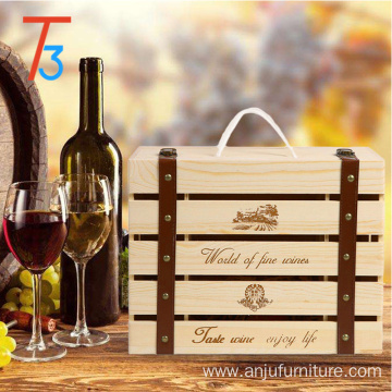 Bottom price for Wooden Wine Box Pine wooden packaging wine crate storage gift box supply to San Marino Wholesale
