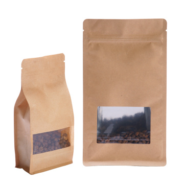 Flat Bottom Pouch With Window Kraft Paper Packaging