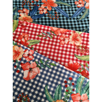 Check Flower Rayon Challis 30S Light Printing Fabric