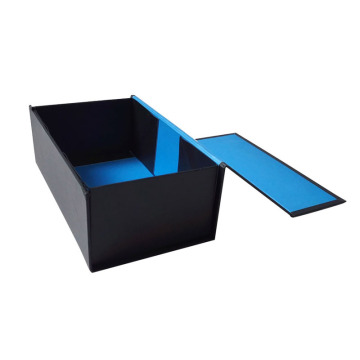 Black Folding Paper Box Blue Interiror Flat Packed