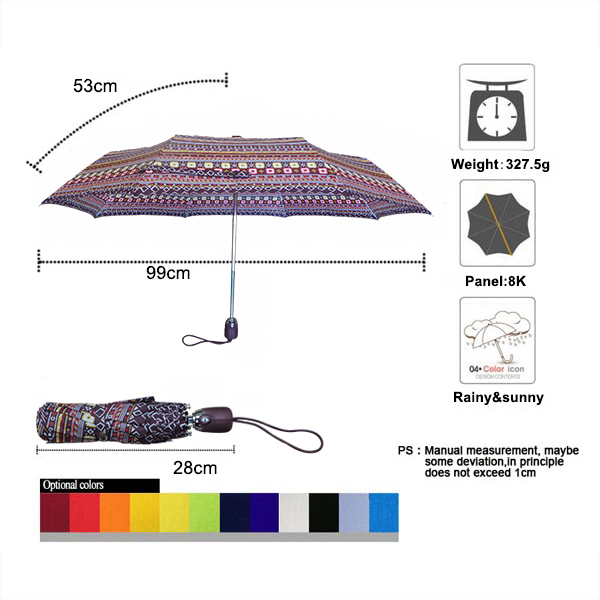 Ethnic style fully automatic 21 inch women umbrella01