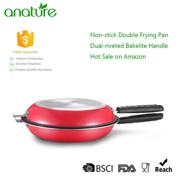 Economic Double Side Nostick Red Frying Pan