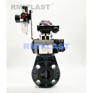 PVC Butterfly Valve Pneumatic Actuated Double Acting