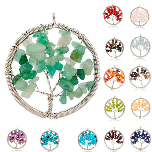 Handmade Wire Wrapped Stone Pendant Tree Shape For Necklace