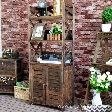 Furniture 4-Shelf Vintage Industrial Rustic Bookshelf, Wood and Metal Bookcase