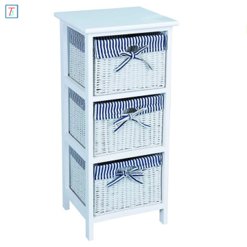 Home Using 3 Tier Drawer Wooden Storage Cabinet With Wicker Baskets Bedroom Bedside Unit Furniture
