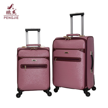 Beautiful color pink PU luggage bag for girl