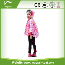 Kids Pink Rain Poncho With Animal Printing