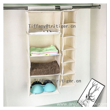 canvas material shelf hanging shoe cloths closet organizer