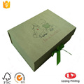 Flat foldable cardboard gift box with ribbon