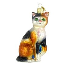 Hand Painted Customized Design Blown Glass Ornaments Cute Cat