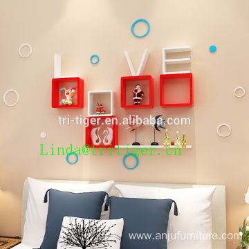 LOVE wooden home decorative floating wall mount shelf