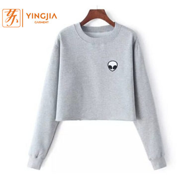 Women Thickened Alien Print Long Sleeve Sweatshirts Tops