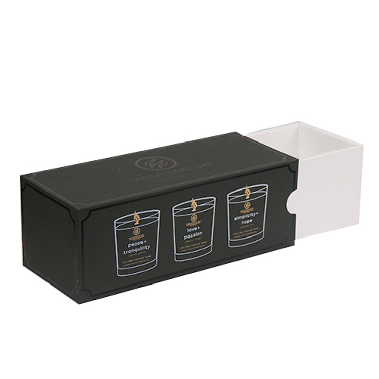 Custom Drawer Black Candle Set Boxes For Candle Jars