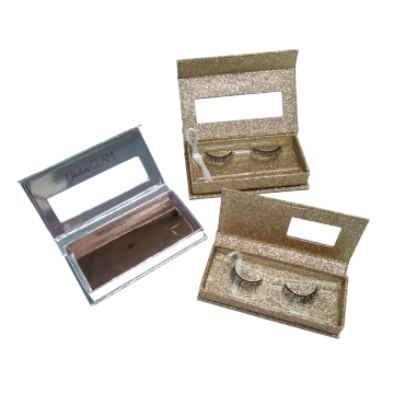 Magnetic Gold Glitter Shiny Eyelash Paper Box