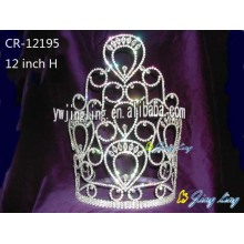China for Gold Pageant Crowns and Tiaras, Sunflower Crown, Rhinestone Pageant Crowns. Large tiara hot sale cheap pageant crown CR-12195 supply to Vatican City State (Holy See) Factory