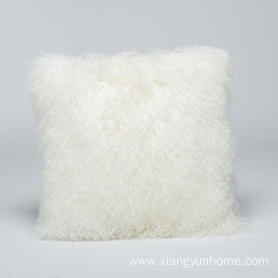 Lamb Fur Pillow Double Sided Fur Snow White