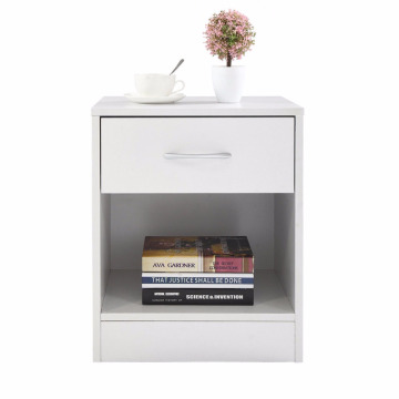 White bedside Table Bedroom Furniture Shelf Drawers Nightstand