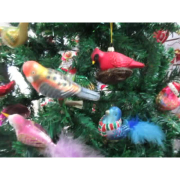 Christmas tree colorful soft glass bird decoration ornament