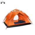 double layer Orange camping tent for 3-4 person