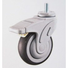 Plastic medical brake caster wheel thread stem