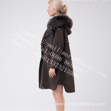 Women Hooded Medium Fur Overcoat In Winter