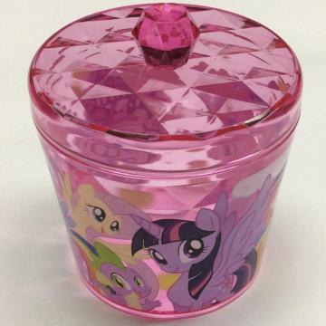 Plastic round box with diamond pattern