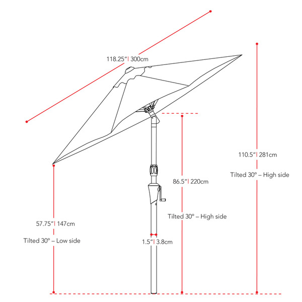 Rotating Garden Umbrella size breakdown