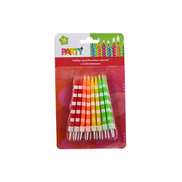 16 Pieces Birthday Cake Colorful Spiral Candles