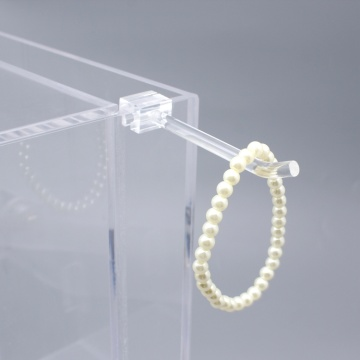 clear blue acrylic display stand with hooks
