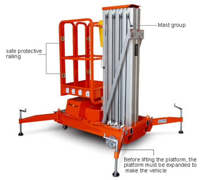 Single Mast Al Alloy Lift Platform