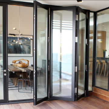 Lingyin Construction Materials Ltd Exterior Patio Clear Aluminum Folding Bifold Doors Toughened Glass Door