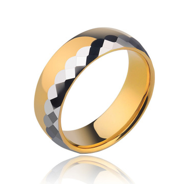 Gold And Silver Mens Tungsten Wedding Ring