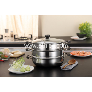 3 Layer Stainless Steel Steamer Pot Cookware Set