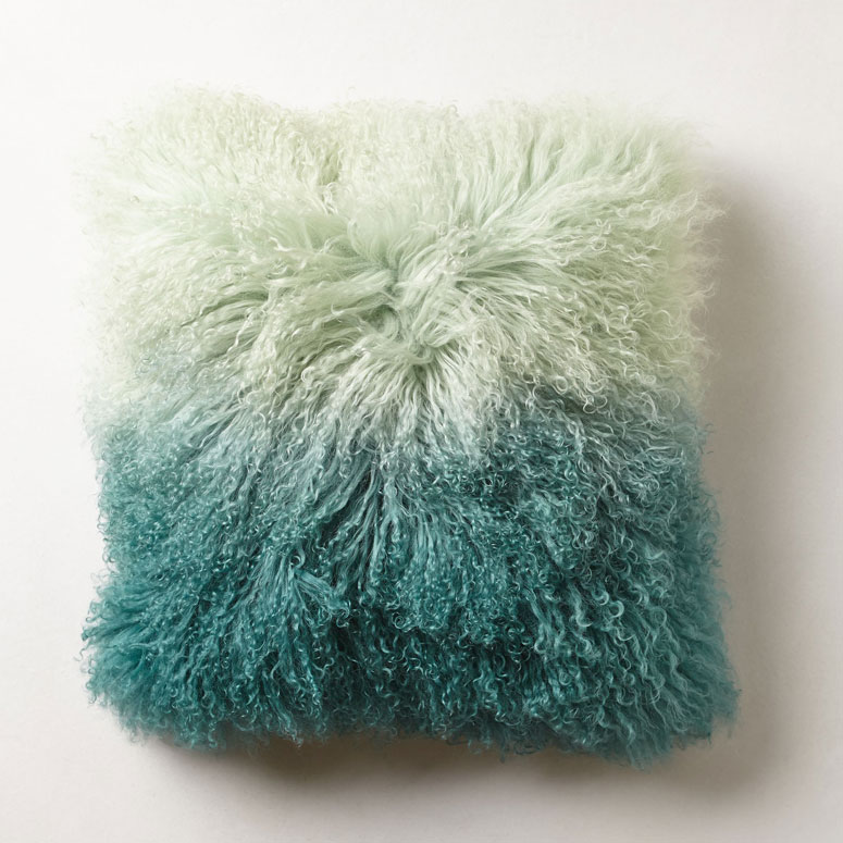 Ombre Fur Cushion In Bedroom