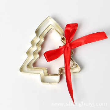Christmas tree golden plating Christmas cookie cutter set