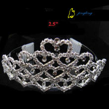 OEM/ODM for Pearl Wedding Tiaras and Crowns, Hair Accessories for Weddings - China supplier. Bridal heart tiara crowns CR-433 export to Tonga Factory