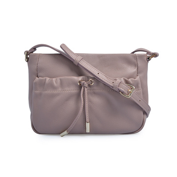 Casual Candy Color Leather Ladies Crossbody Drawstring Bag