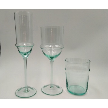 Light blue wine glass goblet and glass tumbler