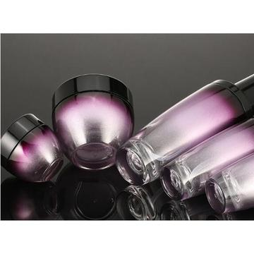 Purple gradient cosmetic glass bottles and jars
