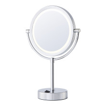 Two-sided battery bathroom mirror with lights