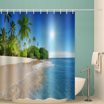 Sea Wave Beach Waterproof Shower Curtain Coconut Tree Tropical Bathroom Decor