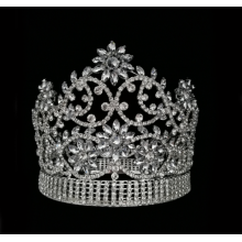 Full Round Diamond Miss World Crown Flower Tiara