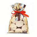 Golden Drawstring Plastic Bag For Wrapping Valentine's Gift