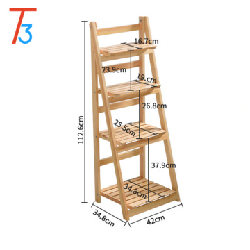 42*34.8*112.6cm 4 layers wooden corner storage rack shelf