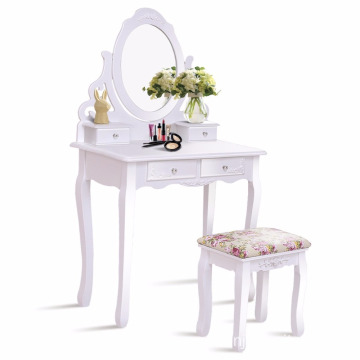 China for Dressing Table And Stool White Bathroom 4 Drawers Vanity Dressing Table Set Mirror make up table supply to Mayotte Wholesale