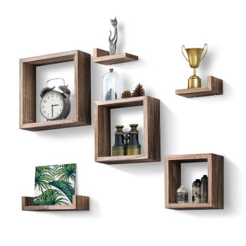 Floating Shelves Set of 7, Rustic Wood Wall Shelves 3 Square Boxes 4 Small L Shelves Free Grouping